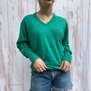 VINTAGE LACOSTE V NECK PREPPY LONG SLEEVE SWEATER